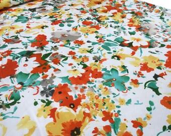 Fabric viscose Jersey flowers print white green yellow orange taupé - 503396