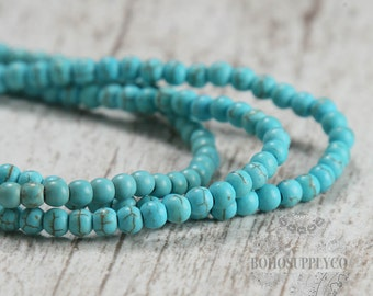 Turquoise 4mm Beads Round Natural Look Composite Stone