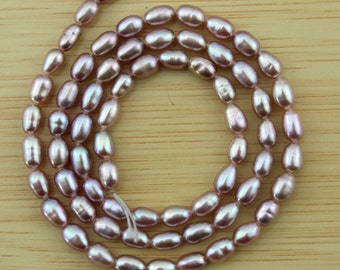 AANatural Pearl 3-4mm Rice Pearl Beads,Freshwater pearl Beads,Purple Pearl Beads,One Full Strand,Gemstone Beads--67Pieces---15 inches--FS78