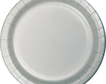 10 Ct Sturdy 9 Inch disposable Shimmering Silver Large Paper Plates - Dinner - Luncheon Size Plates - Wedding - Anniversary - All Occasion