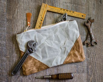Mens Waxed Canvas Cornered Pouch / Unisex / Case / Bag / Tool Bag / Grooming Kit / Travel Kit / Father's Day Gift / School Supplies
