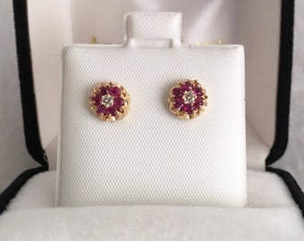 Luxurious 14K Gold Ruby and Diamonds Earrings