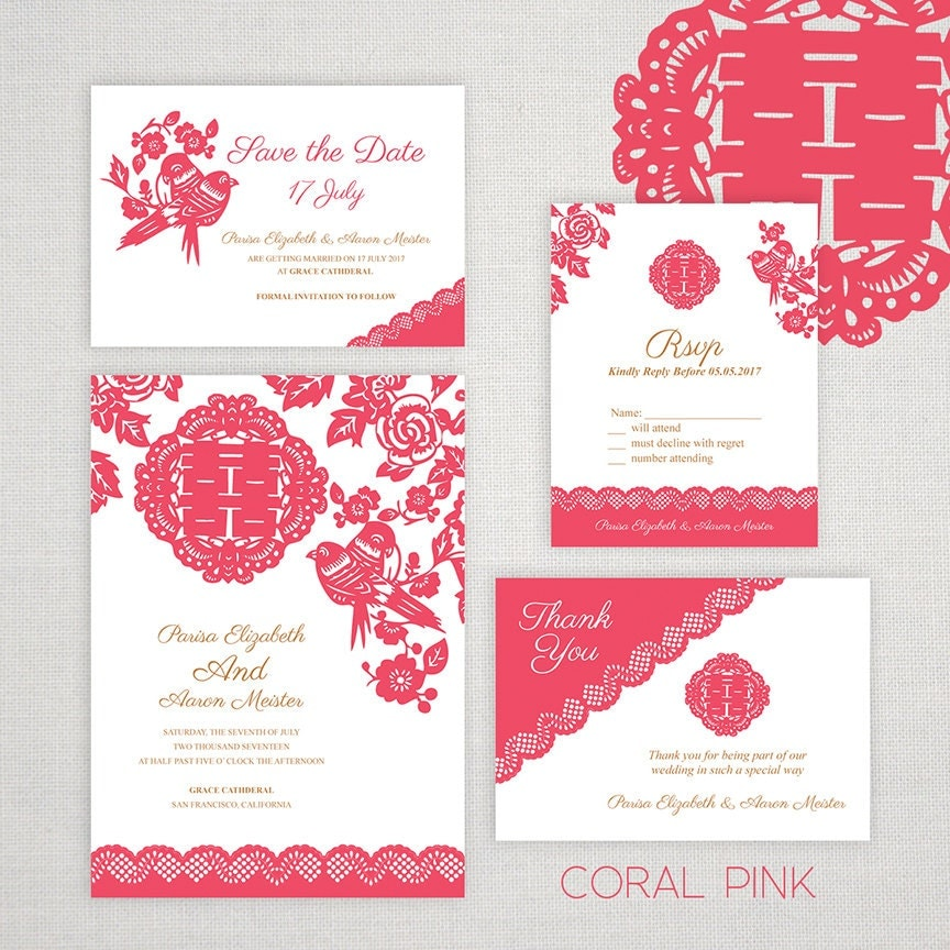 DIY Printable Editable Chinese Wedding Invitation Save the – Chinese Wedding Invitation Cards