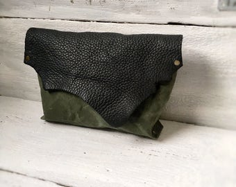 25% OFF Clutch Bag, Womens Purse, Leather  & Canvas Bag, Leather Handbag, Leather Purse, Leather Clutch, Black Leather Bag, Girlfriend