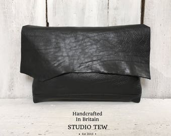 Black Leather Clutch Bag, Leather Purse, Black Bag, Leather Clutch, Night Out Bag, Raw Edge Bag, Girlfriend Gift