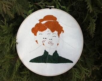 Finished artwork - Hoop Art - Redhead Portrait - Abstract Wall Art - Feminist Wall Art - Feminist Home Decor - Modern art - Wall Hanging