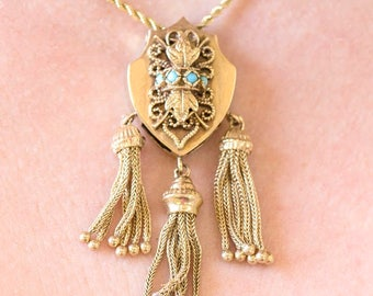 Victorian Solid 14k Yellow Gold Shield Turquoise Tassel Slide Pendant Necklace | Fine Jewelry | Antique | Vintage Style | Handmade