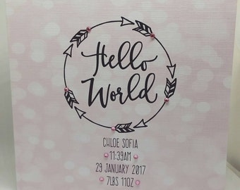 Hello World Personalised new baby card pink or blue