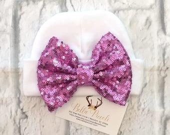 Newborn Hats, Sequin Bow Newborn Hats, Newborn Girl Hats, Sequin Baby Hats, Sequin Bow Hats, Baby Girl Hats, Baby Hats