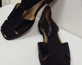 1990s Michelle D  Womens Flats Shoes Slip on Black Top Leaher Size 9 1/2M USA Excellent Condition 1990s  on SaLe Now