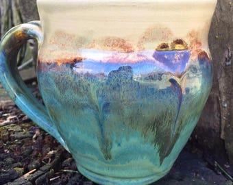 17 Ounce - Soup/Latté Mug - Green Earthy Goodness - Wheel Thrown Pottery