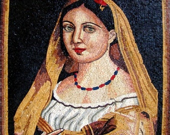 Woman Marble Mosaic Portrait