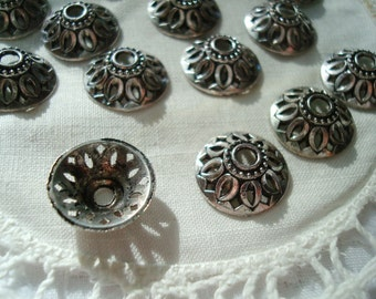 New! 32 Asian Hat Silver Bali Caps. 12x4mm. Antiqued. Peacock Eye Open Spokes.  ~USPS Ship Rates -from Oregon