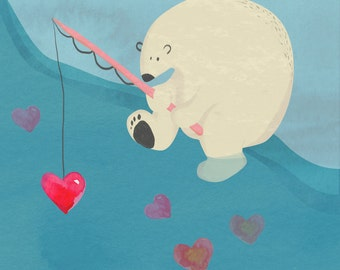 FINE ART PRINT - Polar Bear fishing for hearts - Giclee print 8x8 - Nursery Wall Art - Kids Wall Art - Original Art