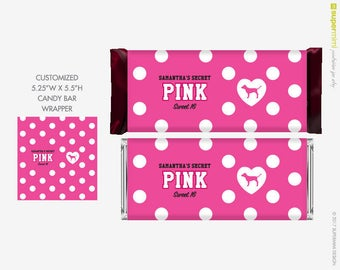Victorias Secret Pink Polka Dots with Dog Candy Bar Wrapper Labels / Customized Digital Printable File