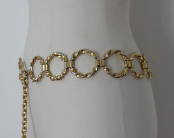 1970s gold metal chain BELT  //vintage golden metal belt