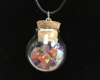 Multi Gemstone Shard Round Vial Necklaces