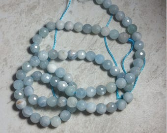 5mm faceted natural aquamarine beads,aquamarine gemstone bead strand,natural faceted aquamarine beads