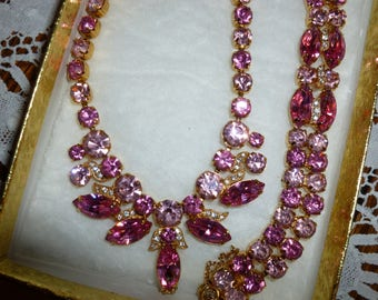 Vintage Eisenberg Ice Necklace and Bracelet Set From The 1960's One Dollar Shipping