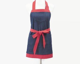 Womens Denim Apron with Large Pockets, Short Denim Apron, Personalized Apron for Gardener, Denim Teacher Apron, Vendor Apron, Crafting