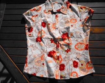 Short sleeve, vintage 70s blouse, size 40, size US 30