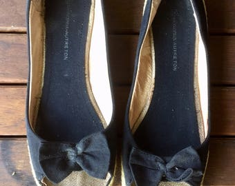 Shoes, women shoes, canvas and rope, Interior leather, open toe, black color, bow on top, size 40, US 8