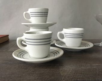 Vintage Diner Coffee Cups, Grey Restaurant Ware, Sultana ABC China, restaurant coffee cups, vitrified china cups, gray band, cup and saucer