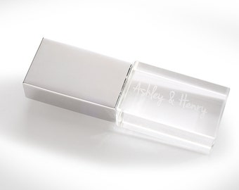 Crystal USB Drive (Personalized & Engraved) Custom Wedding USB Flash Drive 8GB Kraft USB Packaging