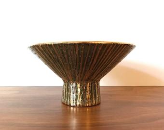 Mid Century Italian Bitossi Pottery Seta Compote Footed Bowl