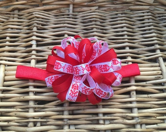 Red damask headband, Loopy hairbow, infant headband, toddler headband, red and white headband