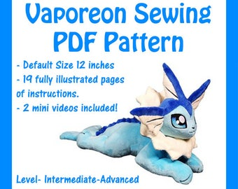 PDF Sewing Pattern- Floppy Vaporeon Plush (intermediate level)