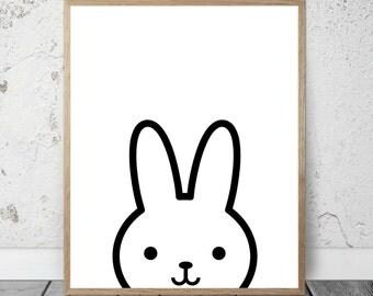 Bunny Kids Nursery Digital Print, Peekaboo Bunny Wall Art, Gift, Printable Decor, Instant Download, Printable Art, Playroom