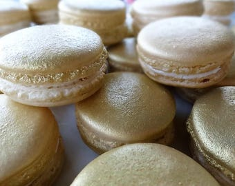 Gourmet Gold French macarons in gift box-only 14.50, bridal shower, baby shower, wedding, dessert, gluten free, macaroons