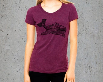 Whale shirt , Women's whale T,shirt , Graphic Tee for women , whale art , humpback whale, Christmas Gifts For Her, Christmas Gifts For Her