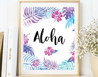 Instant Download, Aloha Printable Art, Aloha Wall Art, Aloha Print, Aloha Art, Hawaii Print, Hawaii Art, Printable Summer Wall Art (WA.34)