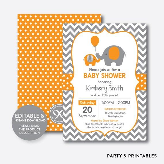 instant download editable elephant baby shower invitation orange