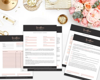 Boudoir / Portrait / Glamour Business Form Kit - PSD Template for Photoshop ~ Invoice / Contract / Model Release / Payment Plan Form