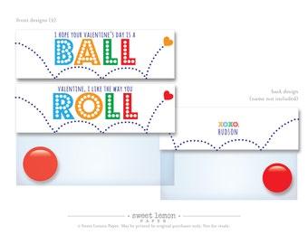 Bouncy Ball Valentine Labels, Valentines, Valentine Bag Topper, Classroom Valentine Printable