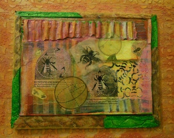 Bee Dance--Mixed media collage and encaustic