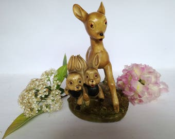 Bambi statue with rabbit- chalk-rabbits and ceramic -made in Italy-old statue-vintage composition-60s-