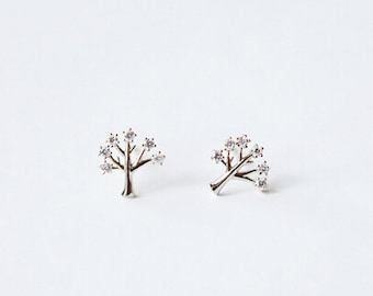 Handmade Simple Jewellery Wishing Tree 925 Sterling Silver Earrings