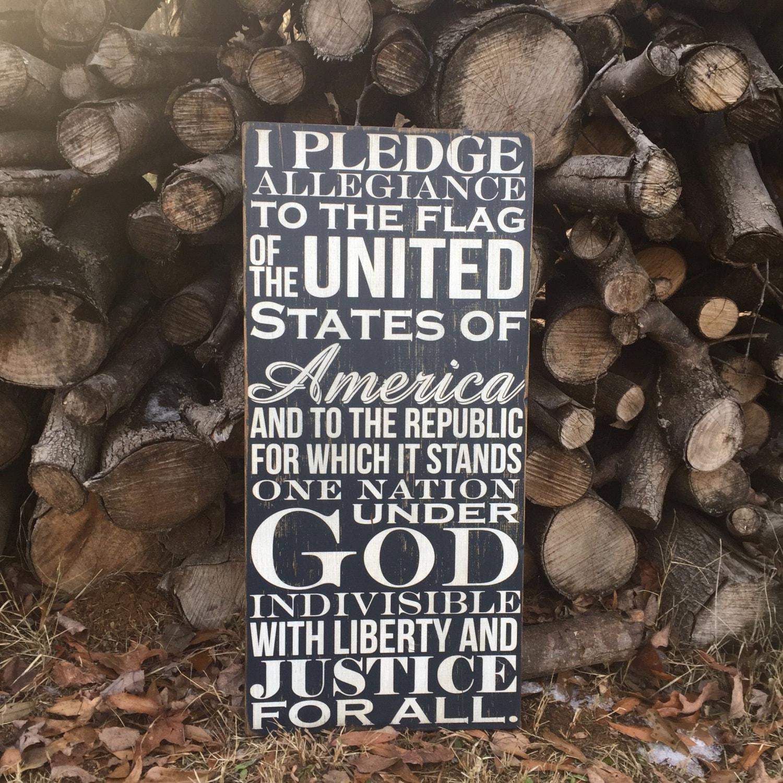 wooden sign i pledge of allegiance pallet wood rustic