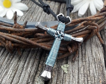 Cross Necklace Men, Nail Cross, Mens Cross Necklace, Nail Cross Necklace, Sky Blue Nail Cross, Horseshoe Nail Cross, Light Blue - SK1