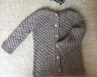 Alpaca Sweater, Cardigan, Hand knitted Cardigan, 2 years