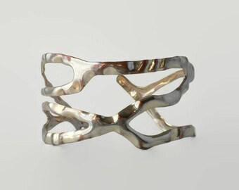 Wide Silver Twig Cuff Bracelet by AVON of Belleville  - Wide Bracelet, Cuff Bracelet, Openwork Bracelet, Root Bracelet, Vine Bracelet