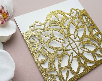Modern Wedding Invitations, Wedding Invitation Set, Gold Wedding Invitation