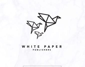 Paper logo - blogger logo - boutique logo - flying paper logo logo - bird logo - name logo - black & white logo - publication logo