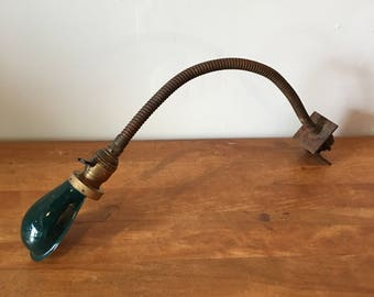 Vintage industrial brass Hubbell gooseneck laboratory lamp - 3 available