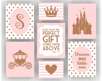 Little Princess wall Decor, Monogram, Castle, Carriage, Crown, Heart, Quote, Set of 7, 8x10-5 and 5x7-2 INSTANT DOWNLOAD