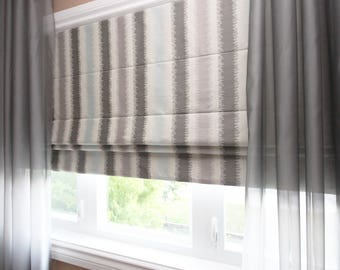 "Flat Roman Shade ""Edinburg Heaven"" with chain mechanism, Roman Shades, Window Treatment, Custom Made"